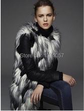 Women Fur Coat Faux Fur Vest  Lady Mixed Color Winter Long Fur Gilet Plus Size XXXL Fur Outerwear(China (Mainland))