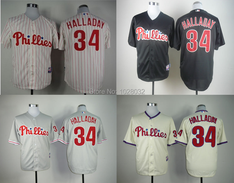HOT SALE Philadelphia Phillies Jersey #34 Roy Halladay Jersey Authentic Cool Base Jersey White/Cream/Black/Gray,Size S~3XL(China (Mainland))