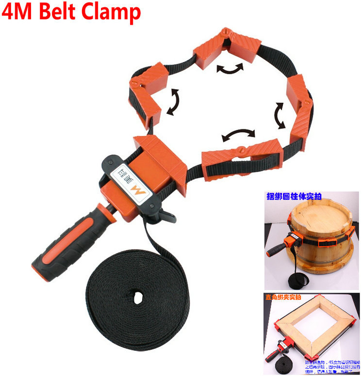 NYLON Material Multi Function Binding Woodworking Tool Belt Clamp Polygons Angle Clip With 4M Long Belt