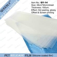 PET release film release film to make hot transfer sticker 10000 sheets per pack 48cm*64cm/sheet thickness 100um(China (Mainland))