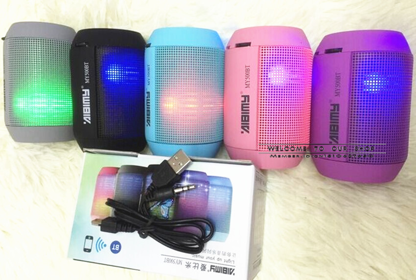 2015 New Hot MINI pulse Bluetooth Speaker TF USB FM Wireless Portable Hands LED lights Music Sound Box Subwoofer MY500BT DHL(China (Mainland))