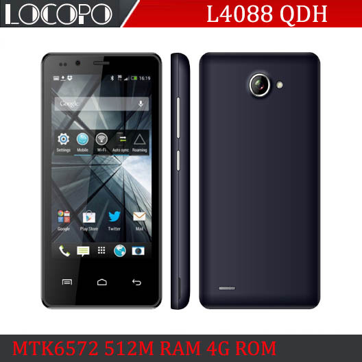 "NEW! LOCOPO 4088 4"" WCDMA 1900/2100 Cheapest Smart Phone MTK6572 Dual Core Android 4 512 RAM 4G ROM 854x480 Cheap Cell PHone(China (Mainland))"