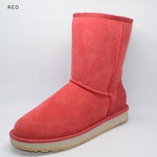 INOE Temel Orta buzağı Koyun Derisi Deri Süet Kışlık Botlar Kadınlar için Koyun Yünü Shearling Kürk Çizgili Kar Botları Ayakkabı siyah Kahverengi(China)