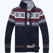 2015 NEW  Warm Thick mens Cardigans Sweaters Men Winter&spring Sweater Tops stand Collar Men slim Casual dress Knitwear 85(China (Mainland))