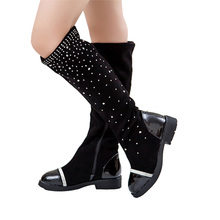 Size 26 37 Retail Trendy Princess Elegant Rhinestone Girl High Leg Boots Autumn Winter Female Children