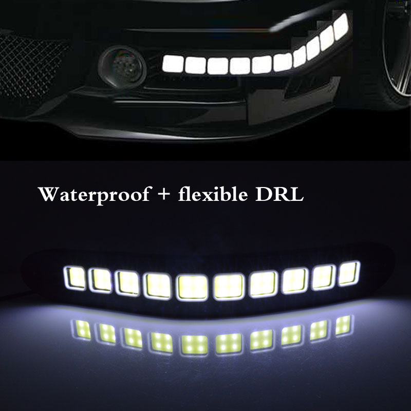 2pcs 26cm 20W 12V White Flexible Led Daytime Running Light Waterproof Bendable COB Lamps LED Car DRL Driving Bulbs(China (Mainland))