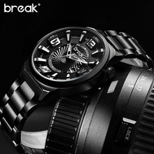 BREAK Men Top Luxury Brand Stainless Steel Band Fashion Casual Calendar Quartz Sports Wristwatches Creative Gift Dress Watches(China (Mainland))