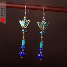 Jiangnan original vintage Cloisonne butterfly earrings earrings folk style long earrings temperament female Chinese wind(China (Mainland))