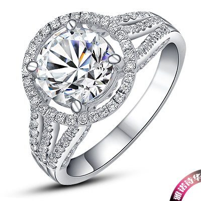 2 Carat Luxury Round Cut Test As Real Genuine Moissanite Engagement Ring Genuine 18k White Gold Forever Love Lasting(China (Mainland))