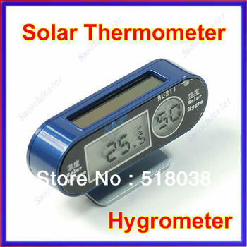 Free Shipping New LCD Energy Digital Solar Thermometer Hygrometer Humidity Meter Sensor Blue