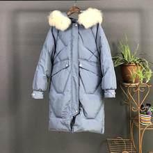 Fitaylor, новинка, большой пуховик из натурального меха енота, зимние куртки для женщин, с капюшоном, белый утиный пух, пальто, женская теплая зим...(China)