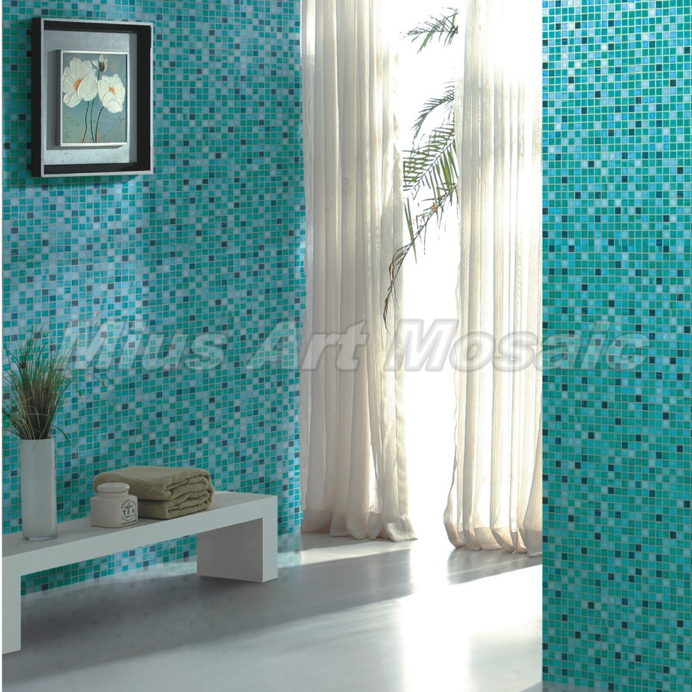 High quality aqua recycled glass tiles bathroom mosaic - Recycled glass tiles bathroom ...