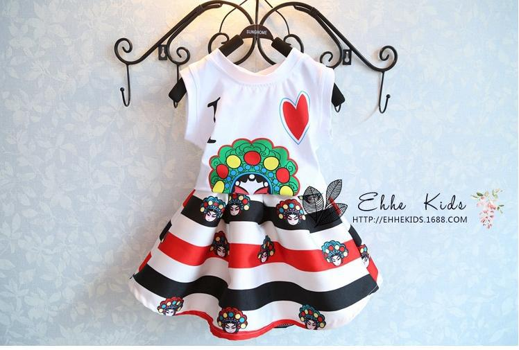 New Summer Children's Clothing Baby Girl Chinese style Face Book Printing Cotton vest + Tutu Skirt Kids Two Pcs Set #YT015(China (Mainland))