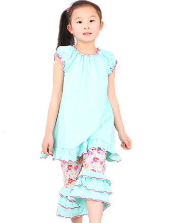 Retail 2015 New Summer Childrens Clothing Floral Suit Childrens Sets(China (Mainland))