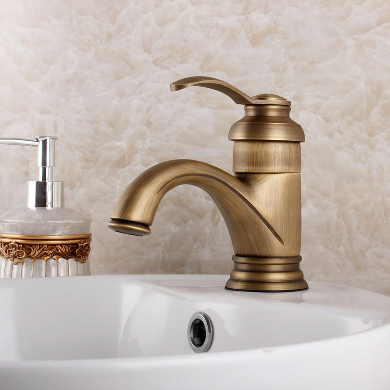 Fashion Bathroom Vanities Brushed Antique Faucet Copper Brass Vintage Bathroom Counter Basin