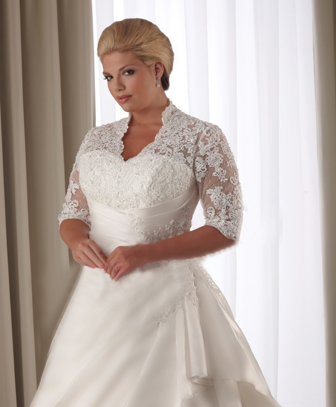 Lace covered shoulders 1 2 length sleeve back lace up plus for Plus size wedding dresses with color and sleeves