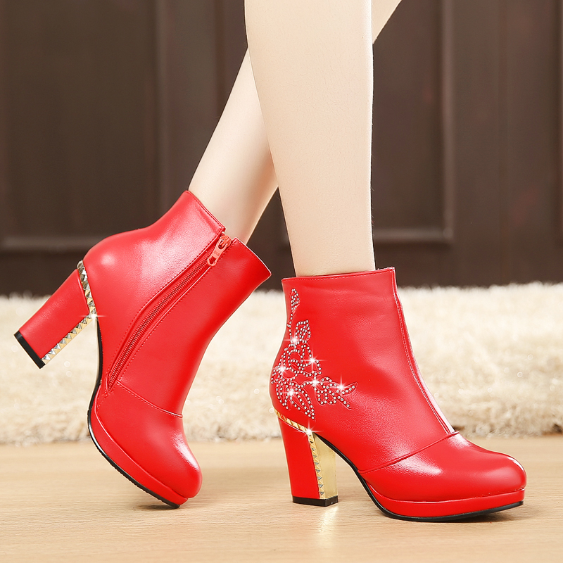 Marriage Boots Winter Red Thick High Heel Bride Shoes Wedding Shoe Female Short sy-1693