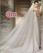 Free Shipping Real Photos 3M White/Ivory Wedding Veil Multi-layer long Bridal Veil Head Veil Wedding Accessories Hot Sell MD3037(China (Mainland))