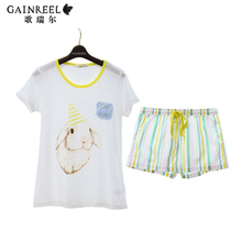 Song Riel fashion cute cartoon men and women short sleeved striped cotton pajamas couple home service