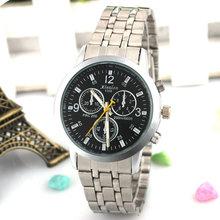2015 Vintage hombres de esfera redonda correa de banda de acero relojes de cuarzo analógico reloj reloj Casual reloj ventas calientes relojes de pulsera