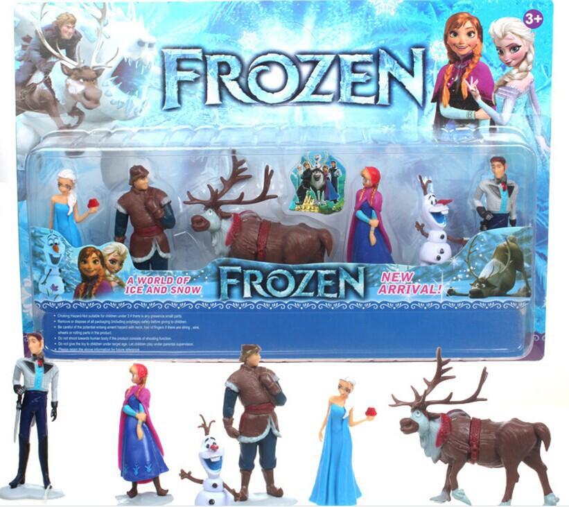 Hot Sale Children Toys Birthday Gifts 6pcs/Set Movie Figures Toys Cake Topper Deco Dolls Anna Elsa Kristoff Olaf Toy Set Kits(China (Mainland))