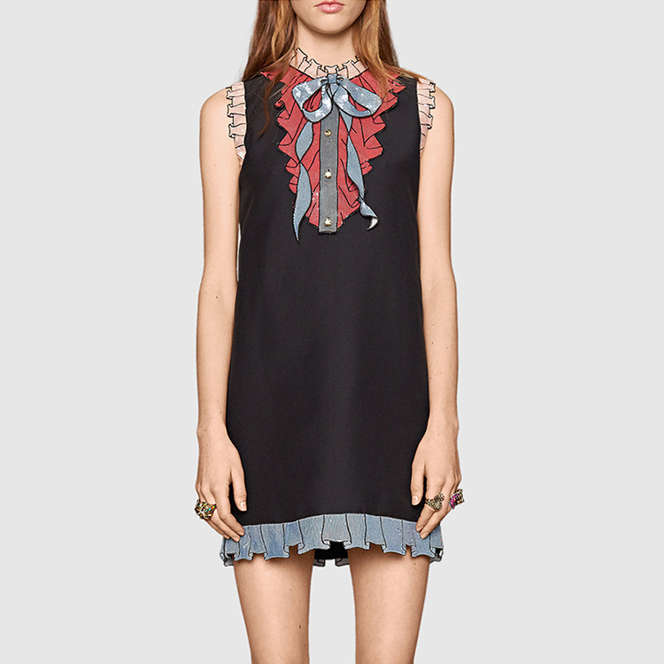 New 2016 runway fashion women summer designer Dress elegant beading color block brand dress casual mini dress D5765Одежда и ак�е��уары<br><br><br>Aliexpress