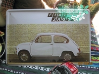 Vintage metal painting fashion retro finishing coffee decorative painting antique car fiat