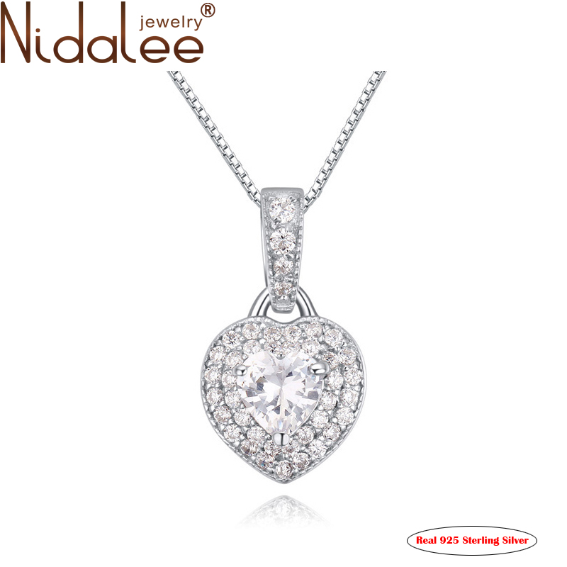 2016 Full drill Heart Pendant 925 sterling silver Gold Plated Top Zircon Necklaces For Women Fashion Jewelry Accessories CN1704(China (Mainland))