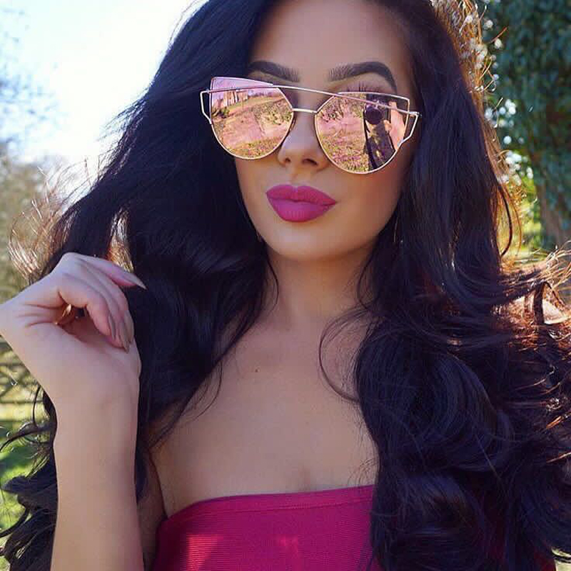 Newest Cat Eye Sunglasses Women Brand Designer Twin-Beams Sun Glasses Mirror Sunglasses Flat Panel Love Punch Clear Drop Ship(China (Mainland))