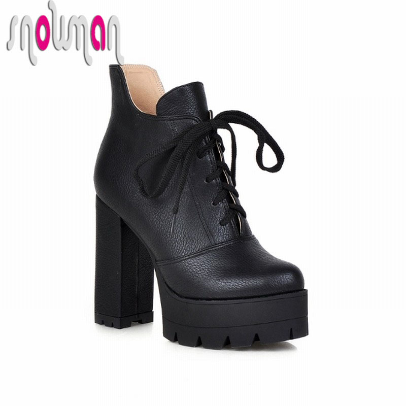 Fashion Lace up Ankle Boots Steady Thick High Heels Platform Shoes Woman Spring Autumn Boots Casual Women Shoes 2015<br><br>Aliexpress