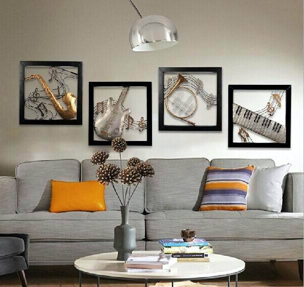 Modern Home Decoration Metal Wall Art 3D Musical Instruments Hanging Pictures 4pcs/set 51*51cm/piece(China (Mainland))
