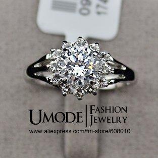 UMODE White Gold Plated Zirconia Diamond Studded Flower Anniversary Wedding Ring JR0062(China (Mainland))