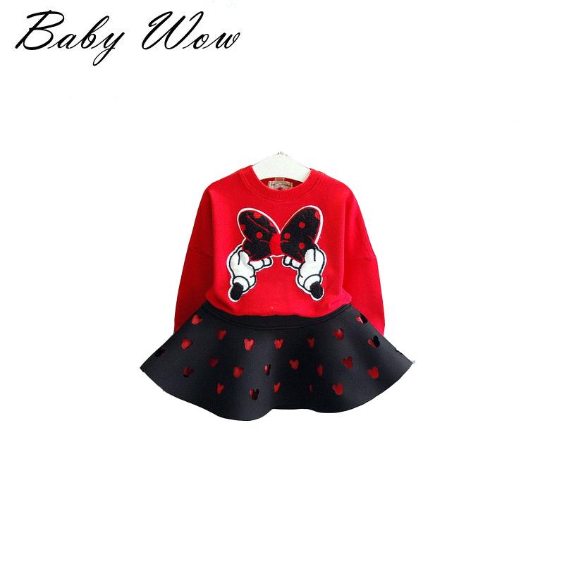 2 Pcs T-shirt +Skirt Set Kids Clothes Girls Clothing Set Cotton Minnie Baby Girl Clothing Suit Children lyw-25919(China (Mainland))