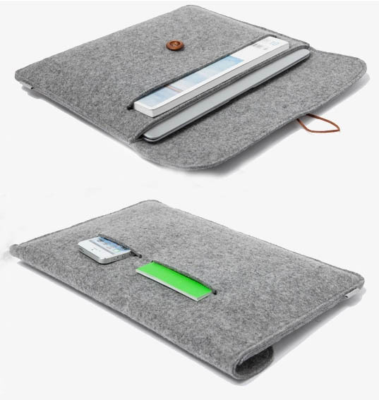 new arrival ! 11.6 13.3 15.4 inch Woolen Felt Laptop Sleeve case cover Envelope Bag For Macbook air /pro/retina(China (Mainland))