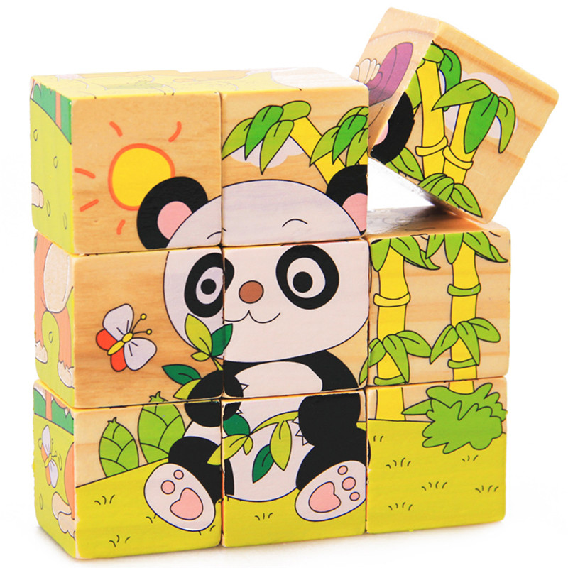 9pcs/set 3D Animal Wooden Puzzle Education Learning Tools Toys Baby Six Sides Panda Hexahedral Jigsaw Puzzle(China (Mainland))