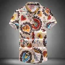 brand news fashion summer style 9 color identify floral print short sleeve flax shirt men,plus size men summer dress M-6XL