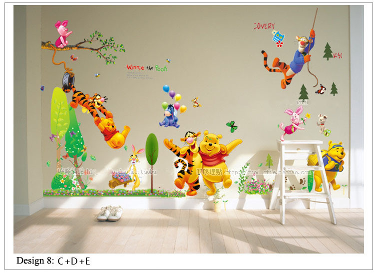 The World OFWinnie the Pooh and Tiger Kids Nursery Wall Sticker Home Decor For Children Room(China (Mainland))