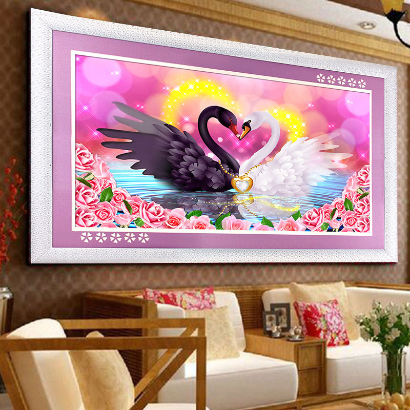 Diy 5d swan eternal love round diamond painting cross for Mosaic home decor