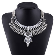 New Arrival Brand Design Antique Silver Plated Cheap Rhinestone Necklace&Pendants Bohemian Maxi Long Big Choker Necklace(China (Mainland))