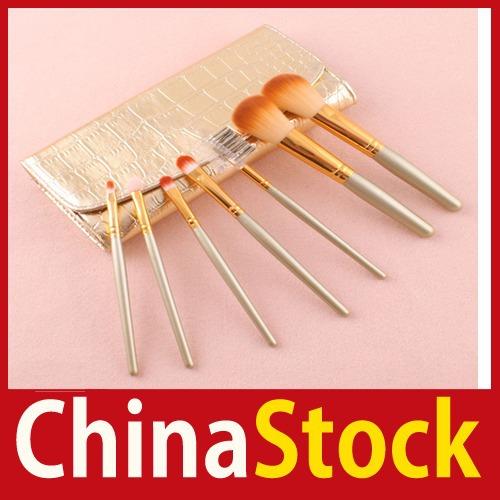 [China Stock] 7 PCS Professional Cosmetic Brushes Makeup Brush Set Kit + Gold Leather Case wholesale(China (Mainland))