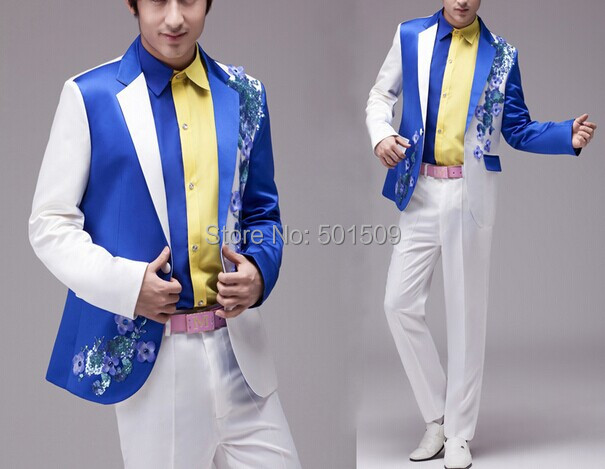 Free ship mens blue and white embroidery beading floral tuxedo suit/stage performanceОдежда и ак�е��уары<br><br><br>Aliexpress