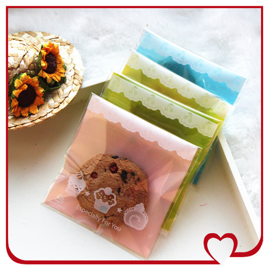 100pcs/lot, 4colors 9x9+3cm,Cookie packages ,plastic sack ,Self-adhesive bag,opp bag with self adhesive,free shipping(China (Mainland))