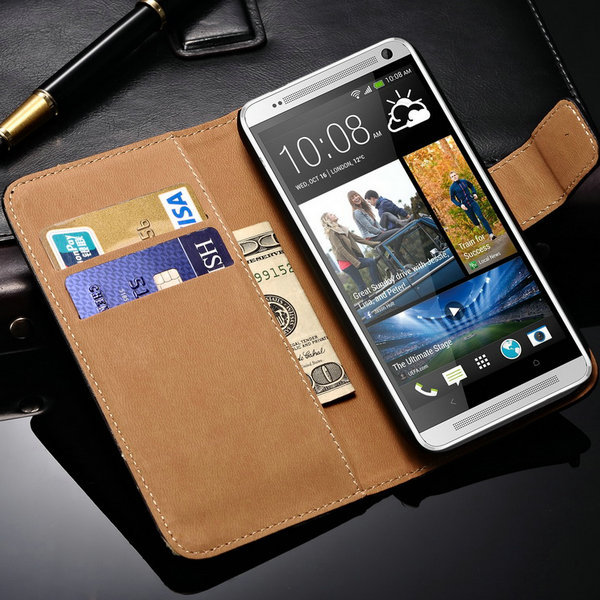 Flip Wallet Genuine Leather Case For HTC One 2 M8 Mini Cover Stand With Card Holders Bill Site Phone Bag for HTC One Mini M8