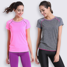 Dry Quick Women O-Neck Short Sleeve Elastic Sport T Shirt Fitness Gym Running Exercise Tee Shirts Tops For Female