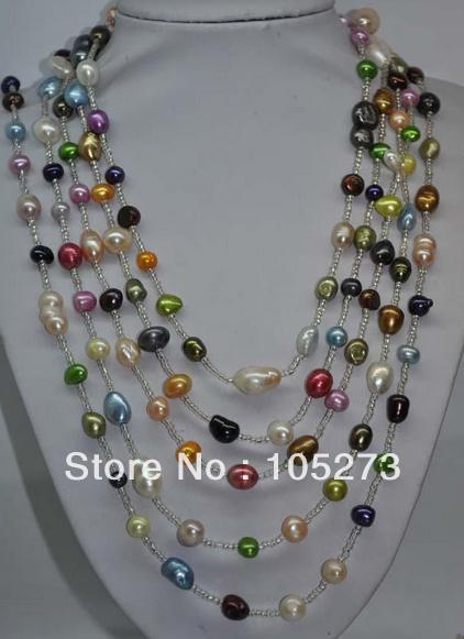 116 Long Mixes Pearl Jewelry 7-11mm Genuine Freshwater Pearl Necklace Top Quality Fashion Ladys Jewelry New Free Shipping<br><br>Aliexpress