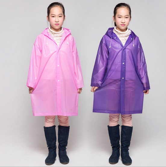 2015 Environmental EVA Candy Color Cute Children Raincoat Kids Scalable Rain Poncho Suit for 120-160cm(China (Mainland))