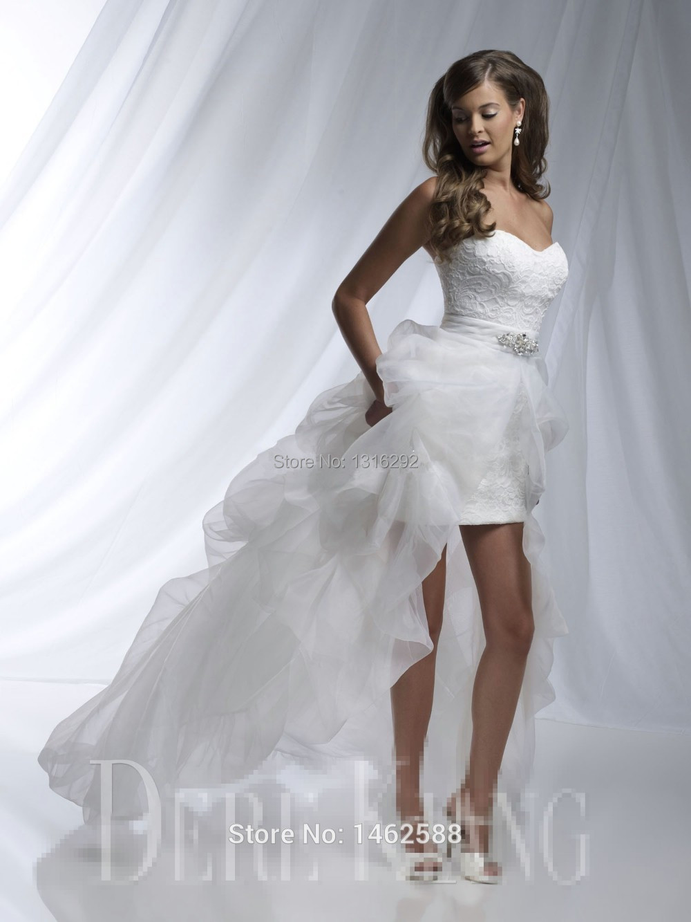 Elegant Lace Sweetheart White Organza Wedding Gowns Short Front Long In The B
