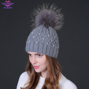 Женская шапка, 100% натуральный мех, натуральный енот, с бубоном, зимняя, кролик, двойная, бархатная, шапки для женщин, жемчужная, шапка с внедрением, шапочки Skullies