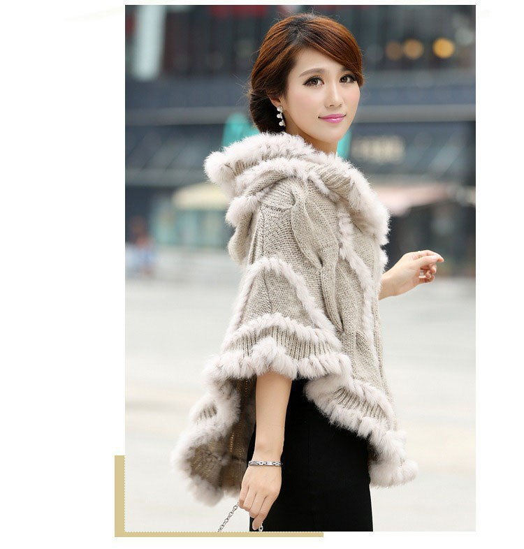 free shipping Knitted Genuine rabbit Fur poncho Shawl Wrap women rabbit fur coat jacket with hood Wholesale retailОдежда и ак�е��уары<br><br><br>Aliexpress