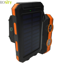 New 20000Mah Waterproof Solar Charger 2 LED Llight 2 Ports Power Bank Portable powerbank Charger For IPhone Samsung With Compass(China (Mainland))